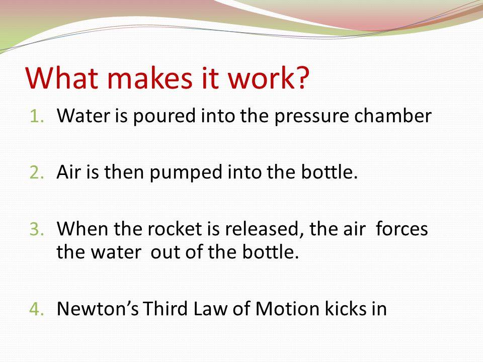 What makes it work. 1. Water is poured into the pressure chamber 2.