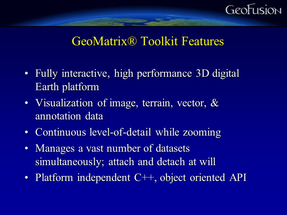 GeoMatrix core concepts 1.Tiled, multi-resolution data packaging.