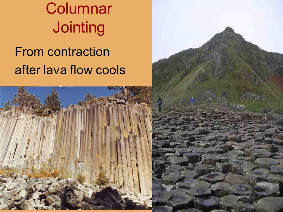 Columnar Jointing From contraction after lava flow cools