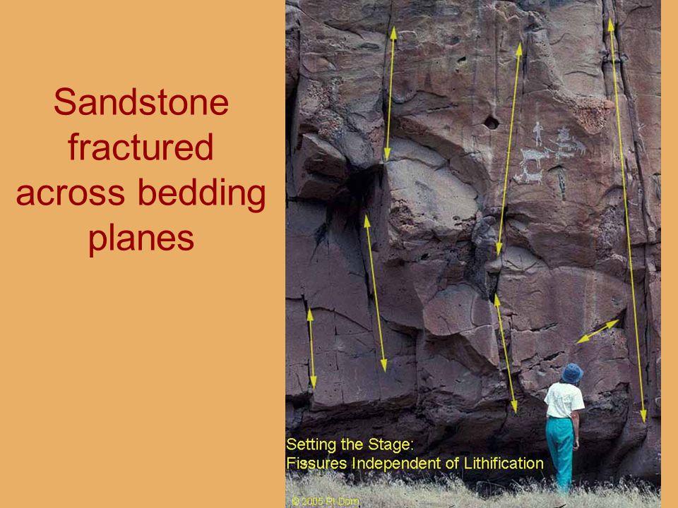 Sandstone fractured across bedding planes