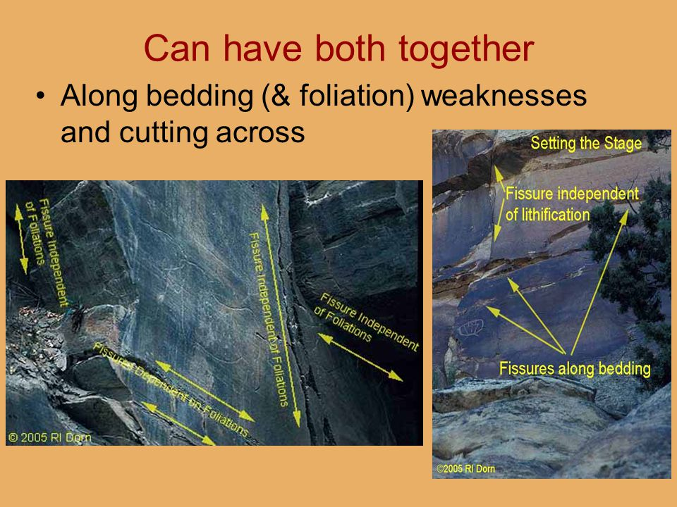 Can have both together Along bedding (& foliation) weaknesses and cutting across