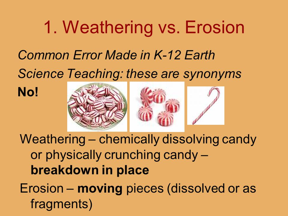 1. Weathering vs. Erosion Common Error Made in K-12 Earth Science Teaching: these are synonyms No! Weathering – chemically dissolving candy or physica