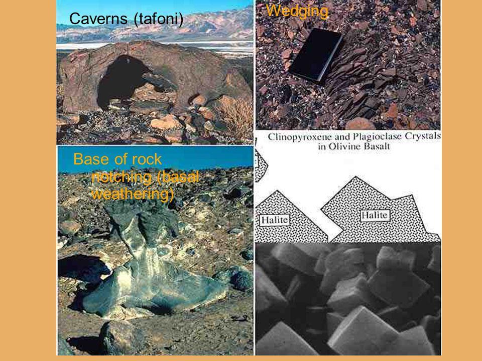 Caverns (tafoni) Base of rock notching (basal weathering) Wedging