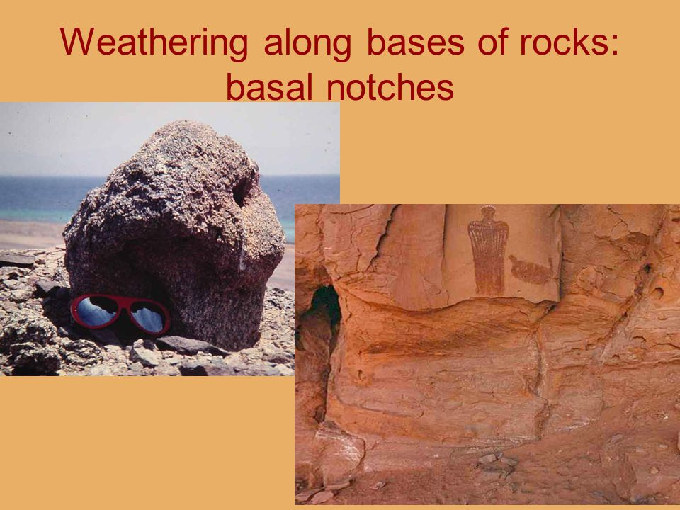 Weathering along bases of rocks: basal notches
