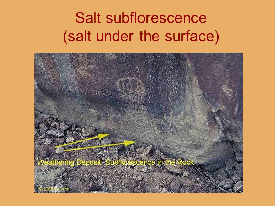 Salt subflorescence (salt under the surface)