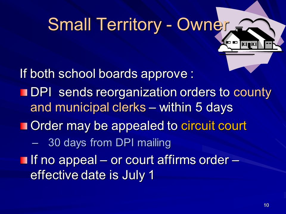 Small Territory - Owner If both school boards approve : DPI sends reorganization orders to county and municipal clerks – within 5 days Order may be appealed to circuit court –30 days from DPI mailing If no appeal – or court affirms order – effective date is July 1 10