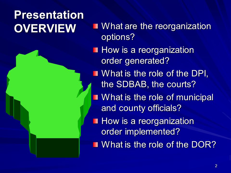 Presentation OVERVIEW What are the reorganization options.