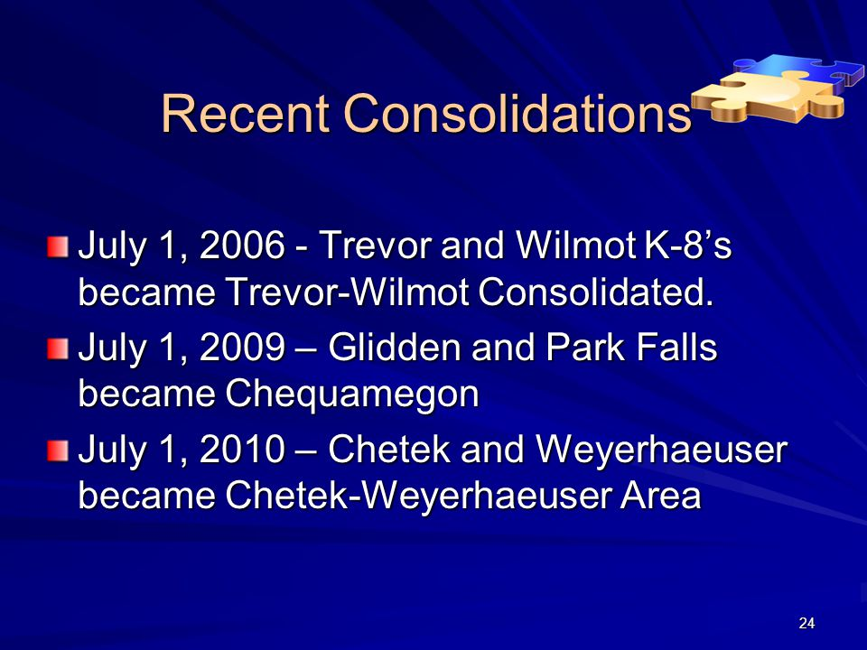 Recent Consolidations July 1, 2006 - Trevor and Wilmot K-8's became Trevor-Wilmot Consolidated.