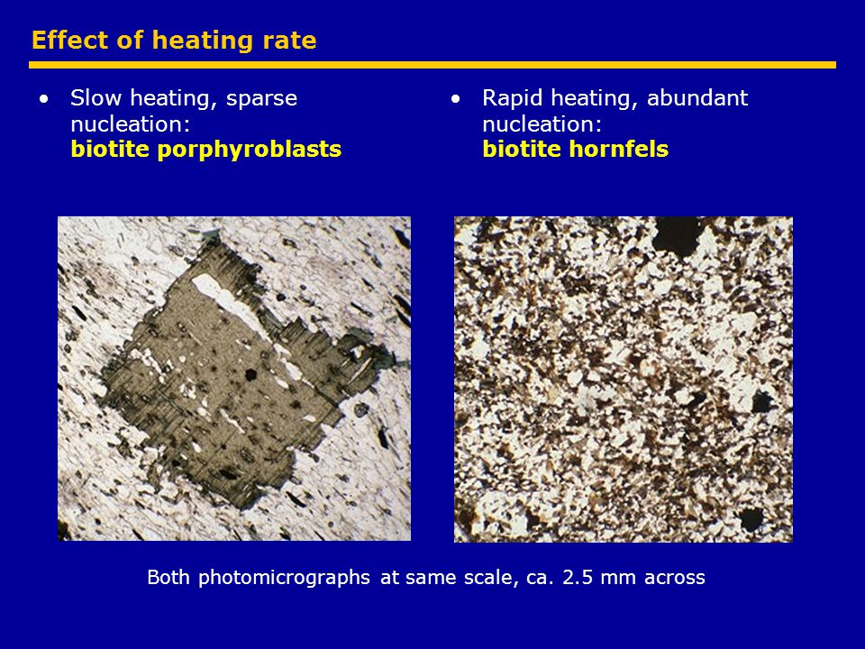 Effect of heating rate Slow heating, sparse nucleation: biotite porphyroblasts Rapid heating, abundant nucleation: biotite hornfels Both photomicrographs at same scale, ca.