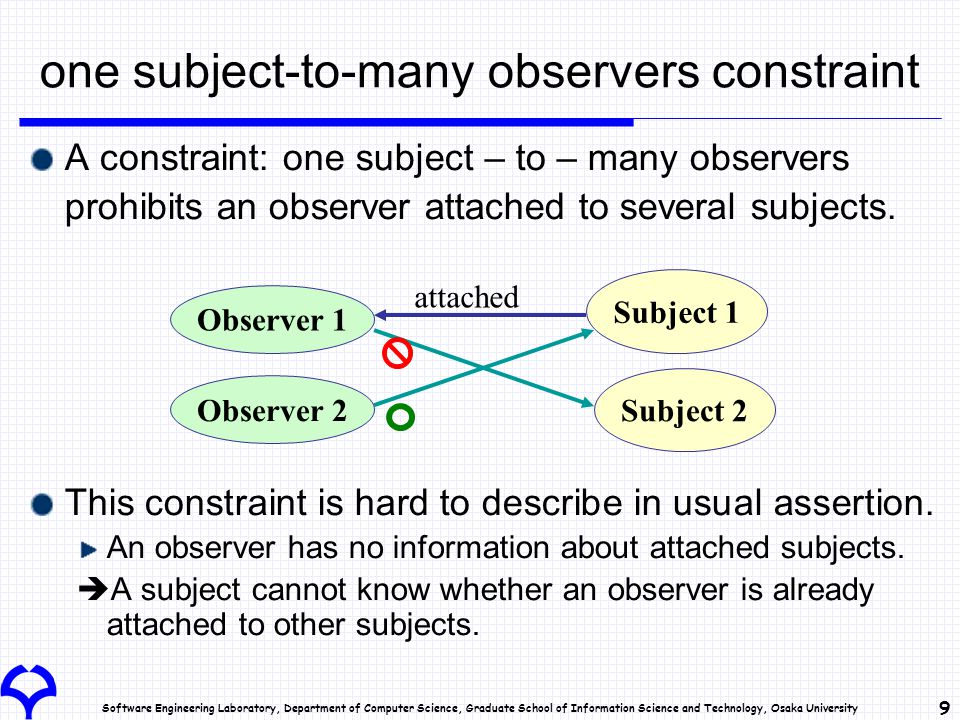 Software Engineering Laboratory, Department of Computer Science, Graduate School of Information Science and Technology, Osaka University 9 one subject-to-many observers constraint A constraint: one subject – to – many observers prohibits an observer attached to several subjects.