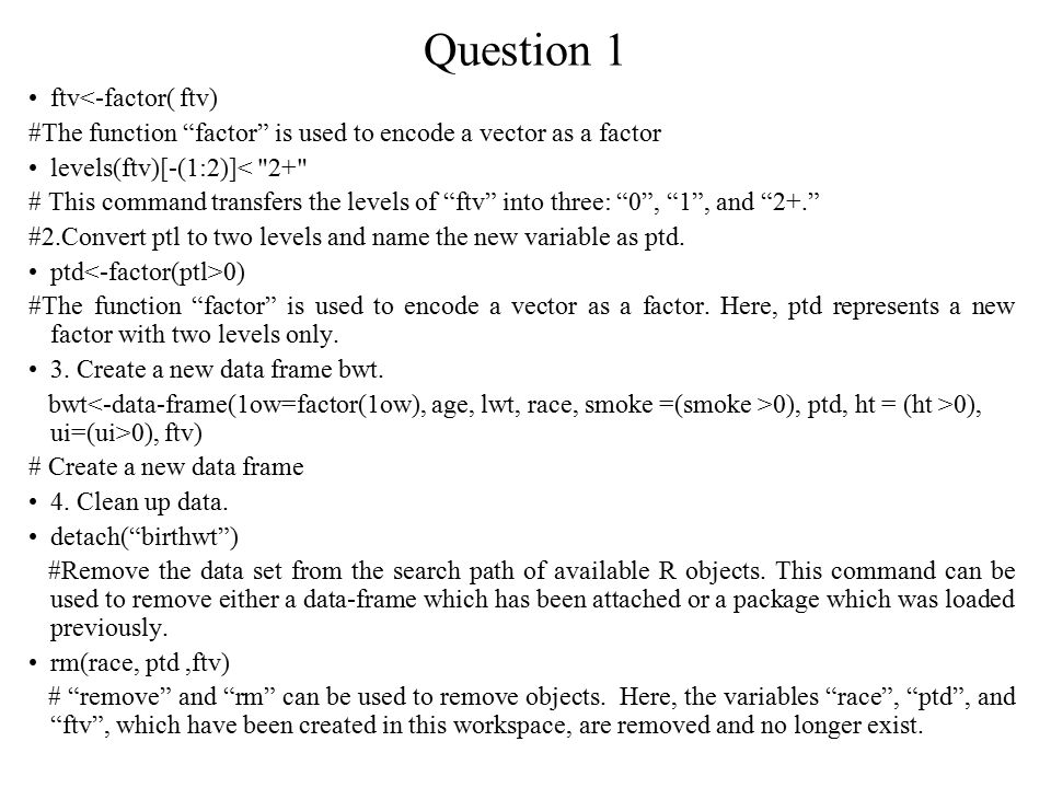 Question 2 Give a brief explanation on the specification of the regression model.