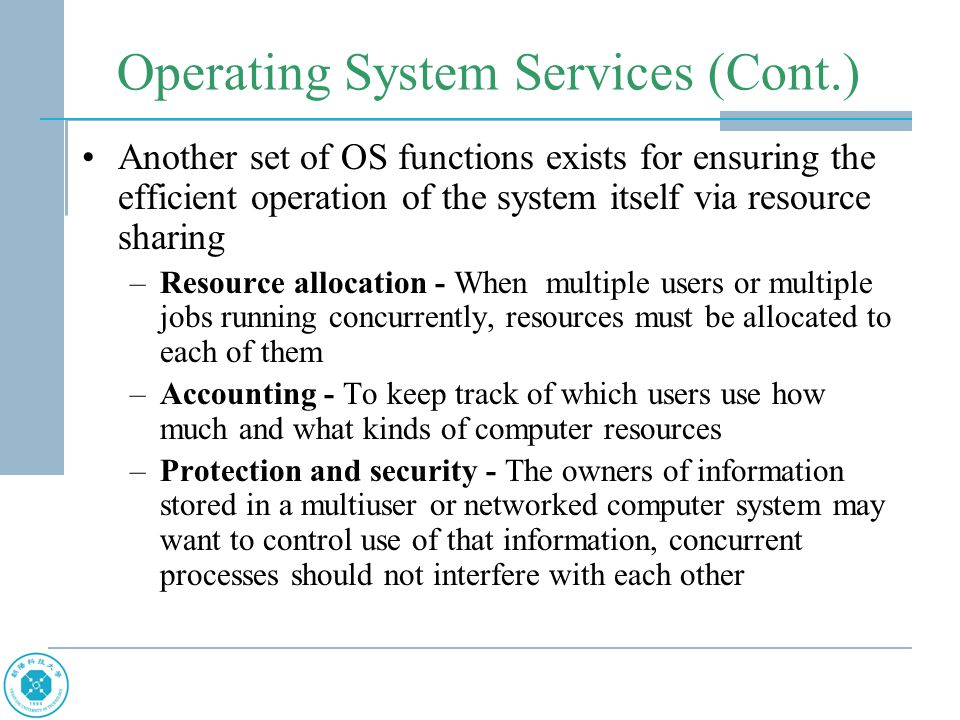 Types of System Calls Device management –request device, release device –read, write, reposition –get device attributes, set device attributes –logically attach or detach devices Information maintenance –Communications may be via shared memory or through message passing (using mailbox) –get time or date, set time or date –get system data, set system data –get process, file, or device attributes –set process, file, or device attributes