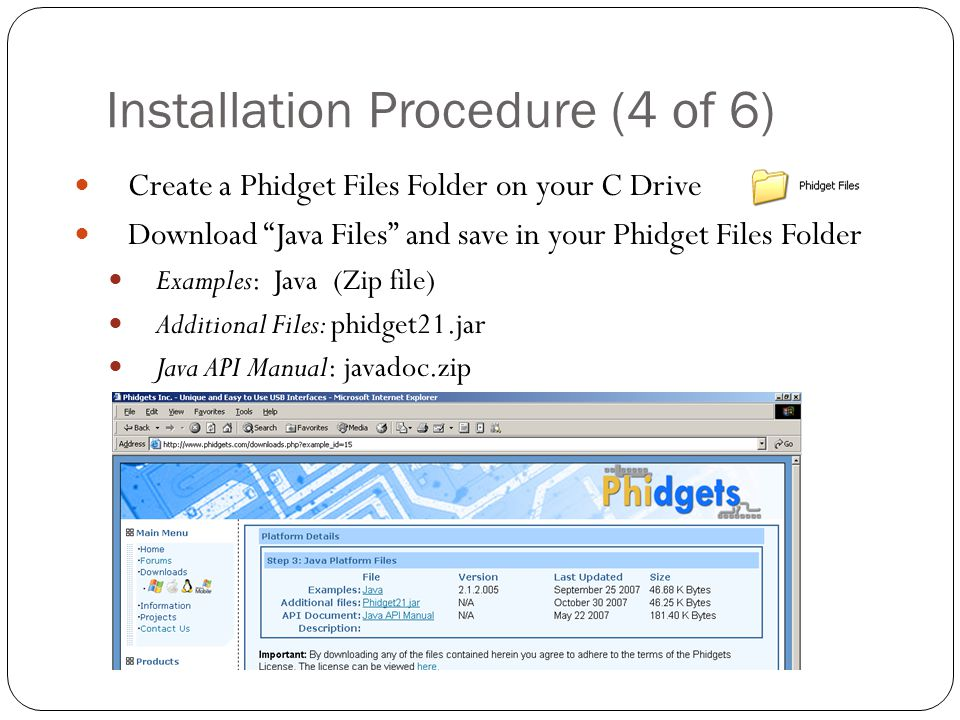 Installation Procedure (4 of 6) Create a Phidget Files Folder on your C Drive Download Java Files and save in your Phidget Files Folder Examples: Java (Zip file) Additional Files: phidget21.jar Java API Manual: javadoc.zip