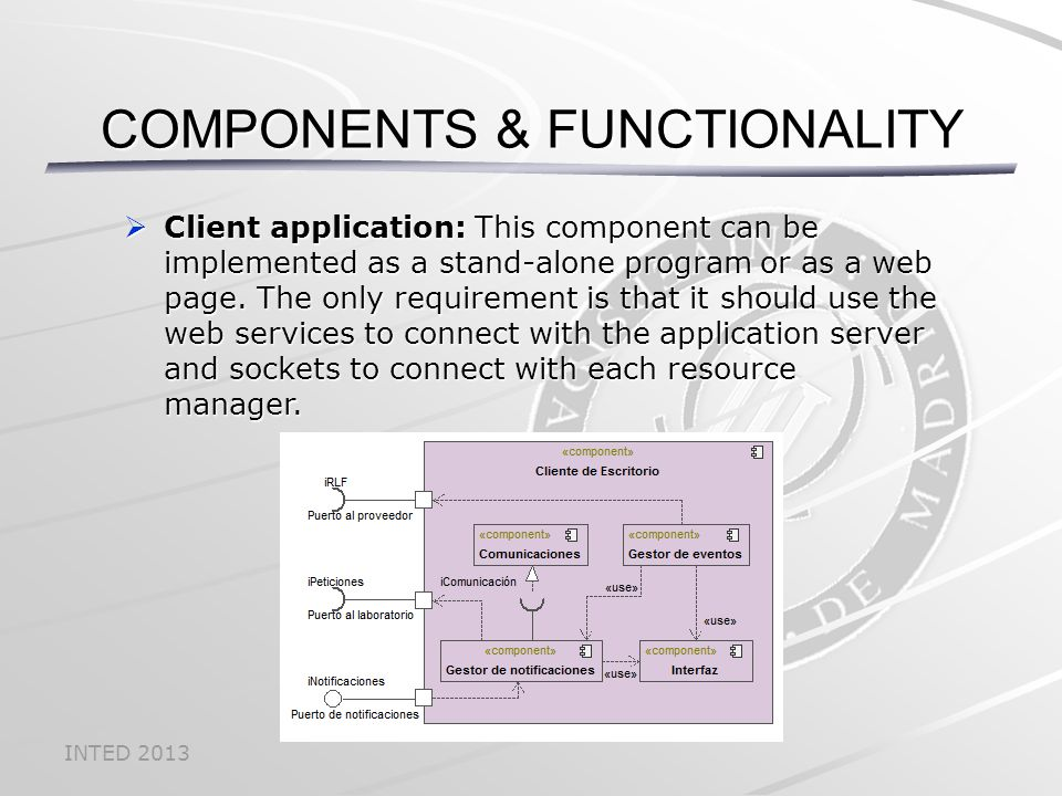 INTED 2013  Client application: This component can be implemented as a stand-alone program or as a web page.