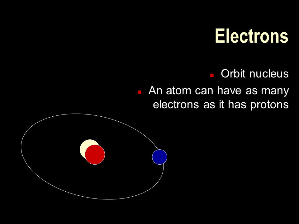 Electrons n Orbit nucleus n An atom can have as many electrons as it has protons