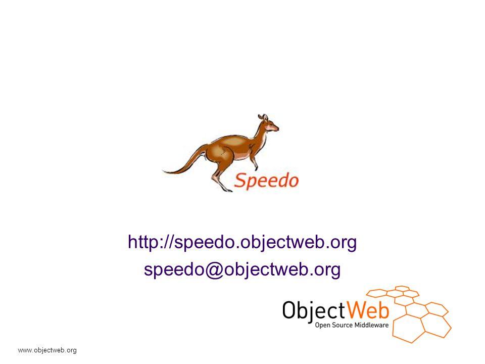 www.objectweb.org Speedo presentation - 2 Plan Speedo: the project view JDO Model  By the example  The API Speedo: the implementation  Architecture  The generator (enhancer)