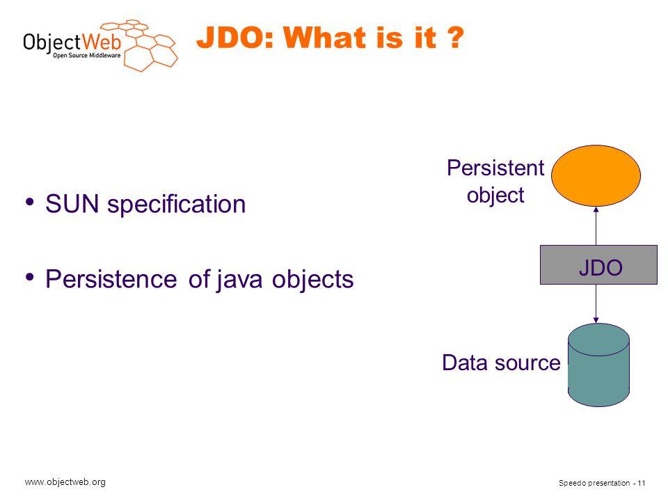 www.objectweb.org Speedo presentation - 11 JDO: What is it ? SUN specification Persistence of java objects JDO Data source Persistent object
