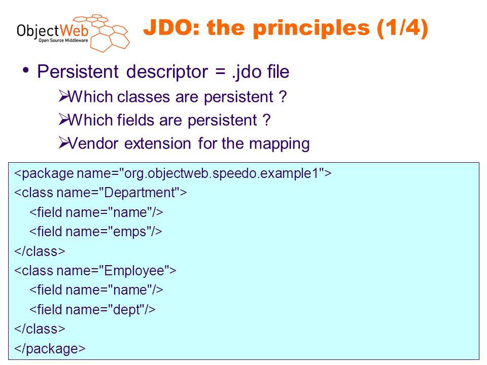 www.objectweb.org Speedo presentation - 12 JDO: the principles (1/4) Persistent descriptor =.jdo file  Which classes are persistent ?  Which fields