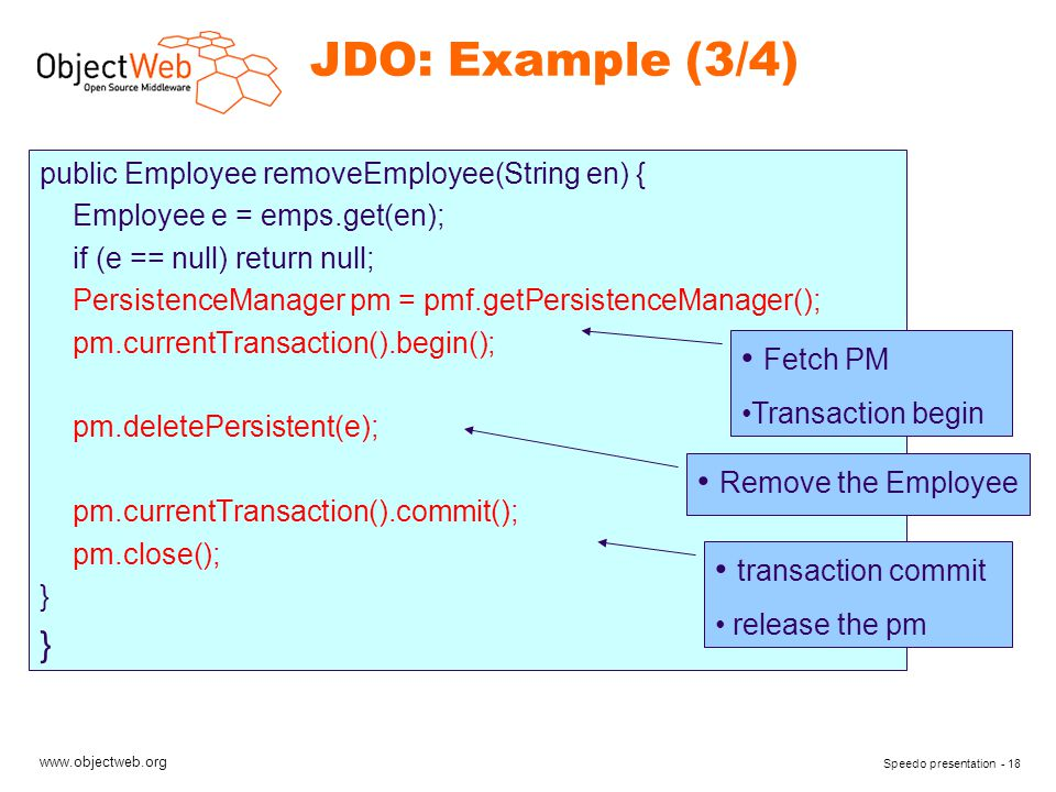 www.objectweb.org Speedo presentation - 18 JDO: Example (3/4) public Employee removeEmployee(String en) { Employee e = emps.get(en); if (e == null) return null; PersistenceManager pm = pmf.getPersistenceManager(); pm.currentTransaction().begin(); pm.deletePersistent(e); pm.currentTransaction().commit(); pm.close(); } Fetch PM Transaction begin Remove the Employee transaction commit release the pm