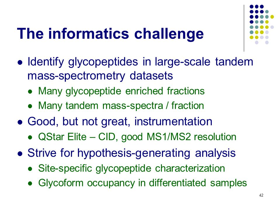 The informatics challenge Identify glycopeptides in large-scale tandem mass-spectrometry datasets Many glycopeptide enriched fractions Many tandem mas