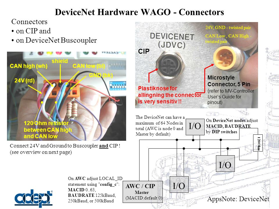 AppsNote: DeviceNet DeviceNet Hardware WAGO - Connectors Connectors on CIP and on DeviceNet Buscoupler GND (bk) 24V (rd) CAN low (bl) shield CAN high (wh) Connect 24V and Ground to Buscoupler and CIP .
