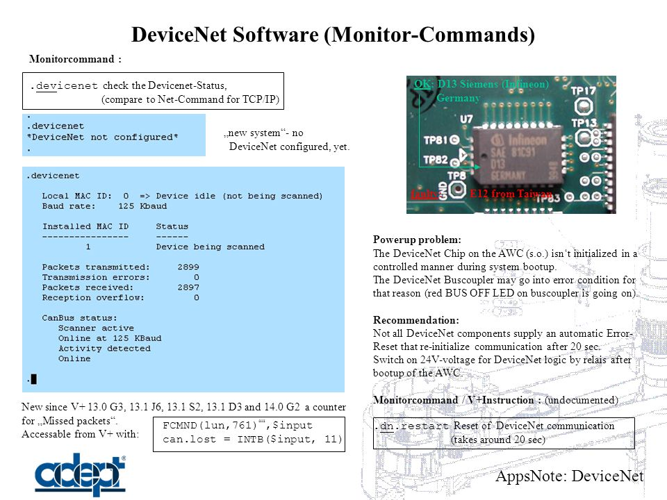 "AppsNote: DeviceNet DeviceNet Software (Monitor-Commands) Monitorcommand :.devicenet check the Devicenet-Status, (compare to Net-Command for TCP/IP) ""new system - no DeviceNet configured, yet."