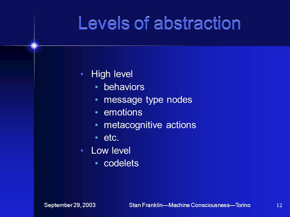 September 29, 2003Stan Franklin—Machine Consciousness—Torino12 Levels of abstraction High level behaviors message type nodes emotions metacognitive actions etc.
