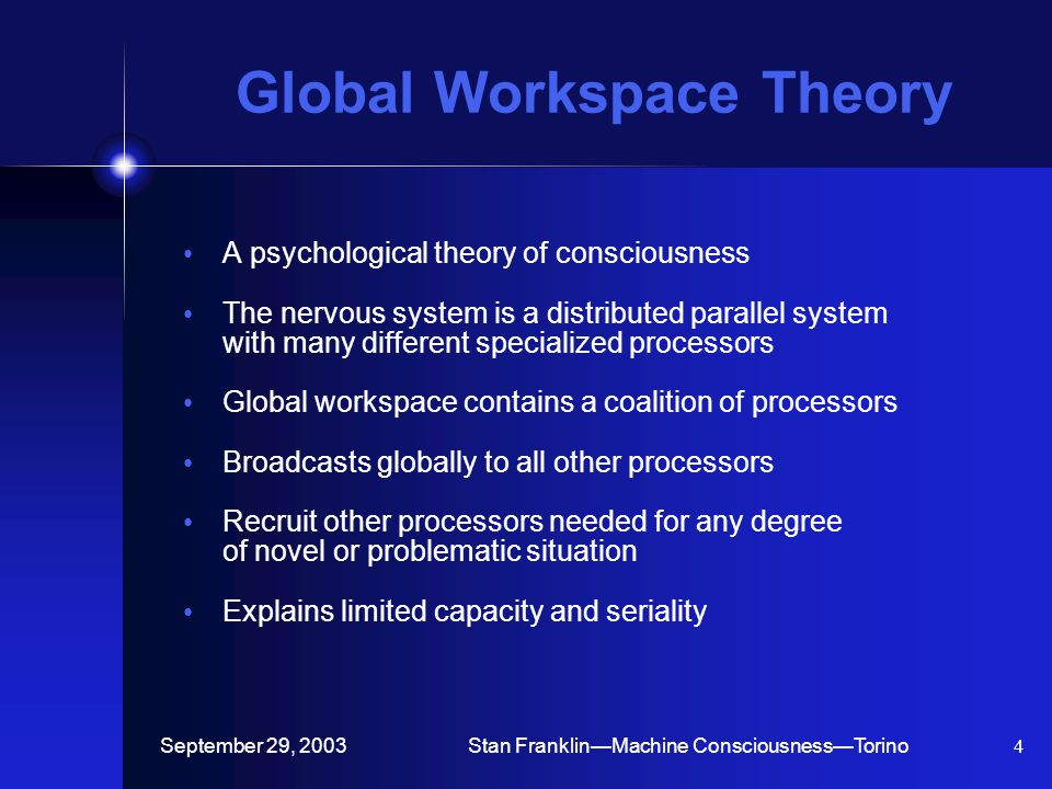 September 29, 2003Stan Franklin—Machine Consciousness—Torino4 Global Workspace Theory A psychological theory of consciousness The nervous system is a distributed parallel system with many different specialized processors Global workspace contains a coalition of processors Broadcasts globally to all other processors Recruit other processors needed for any degree of novel or problematic situation Explains limited capacity and seriality