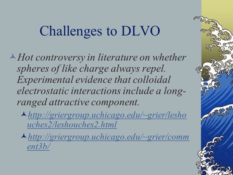 Challenges to DLVO Hot controversy in literature on whether spheres of like charge always repel. Experimental evidence that colloidal electrostatic in