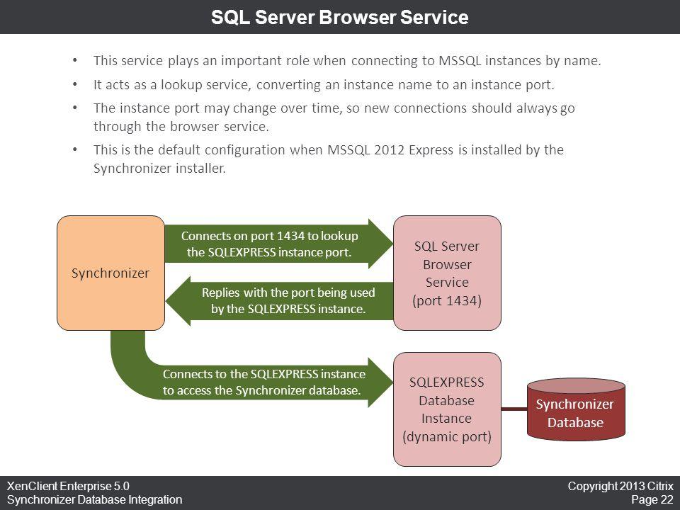Copyright 2013 Citrix Page 22 XenClient Enterprise 5.0 Synchronizer Database Integration SQL Server Browser Service This service plays an important ro