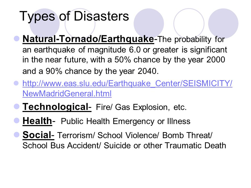 Types of Disasters Natural-Tornado/Earthquake- The probability for an earthquake of magnitude 6.0 or greater is significant in the near future, with a 50% chance by the year 2000 and a 90% chance by the year 2040.