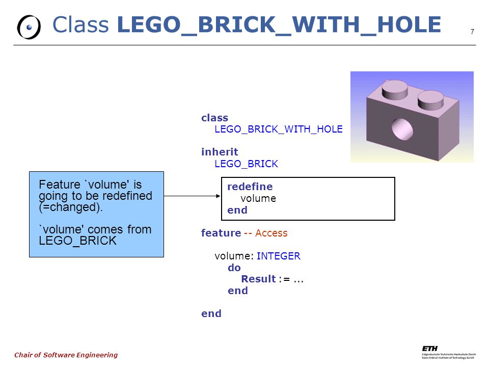 Chair of Software Engineering 7 Class LEGO_BRICK_WITH_HOLE class LEGO_BRICK_WITH_HOLE inherit LEGO_BRICK redefine volume end feature -- Access volume: INTEGER do Result :=...