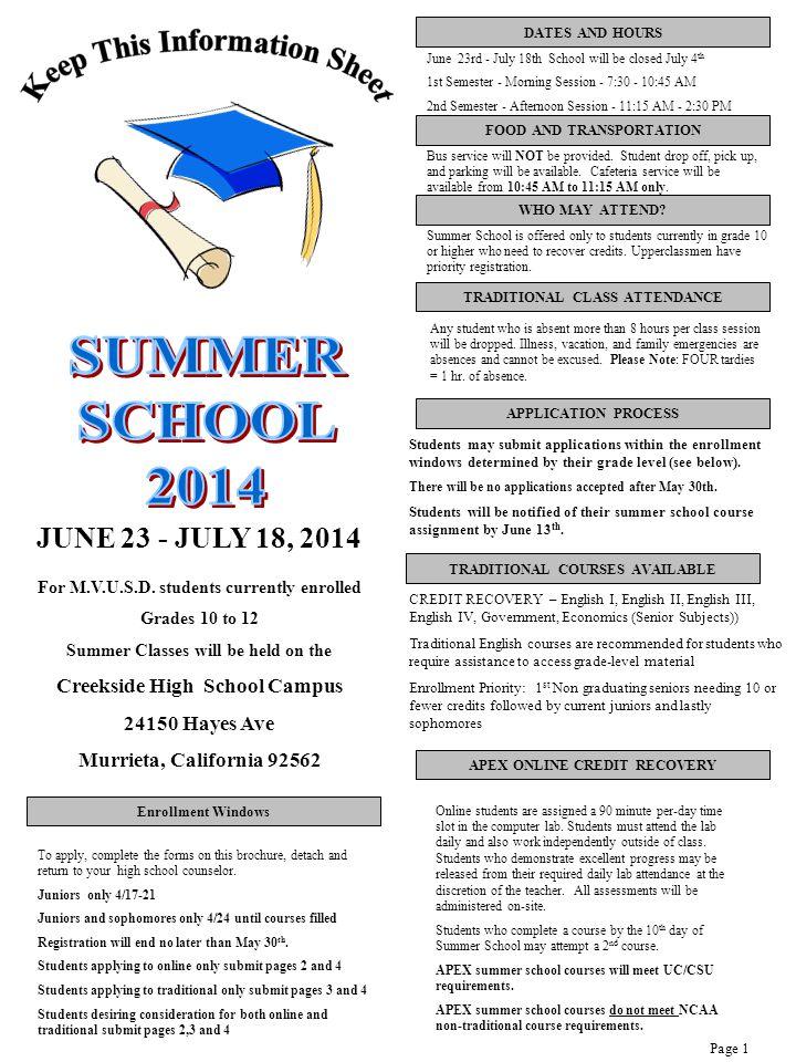 JUNE 23 - JULY 18, 2014 For M.V.U.S.D.