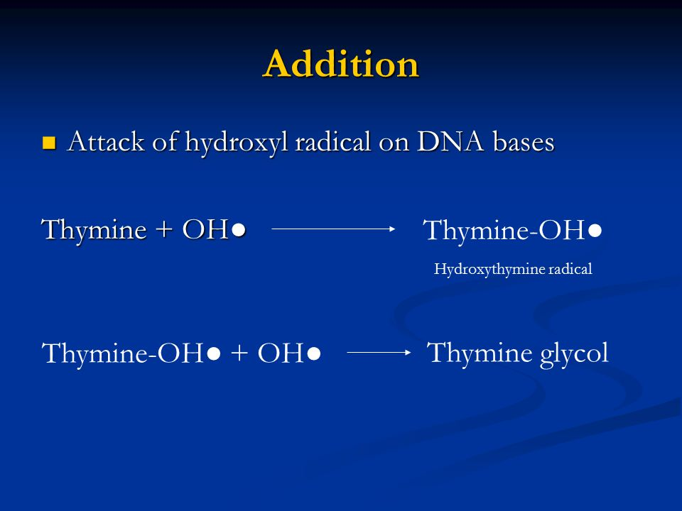 Addition Attack of hydroxyl radical on DNA bases Attack of hydroxyl radical on DNA bases Thymine + OH● Thymine-OH● Hydroxythymine radical Thymine-OH●