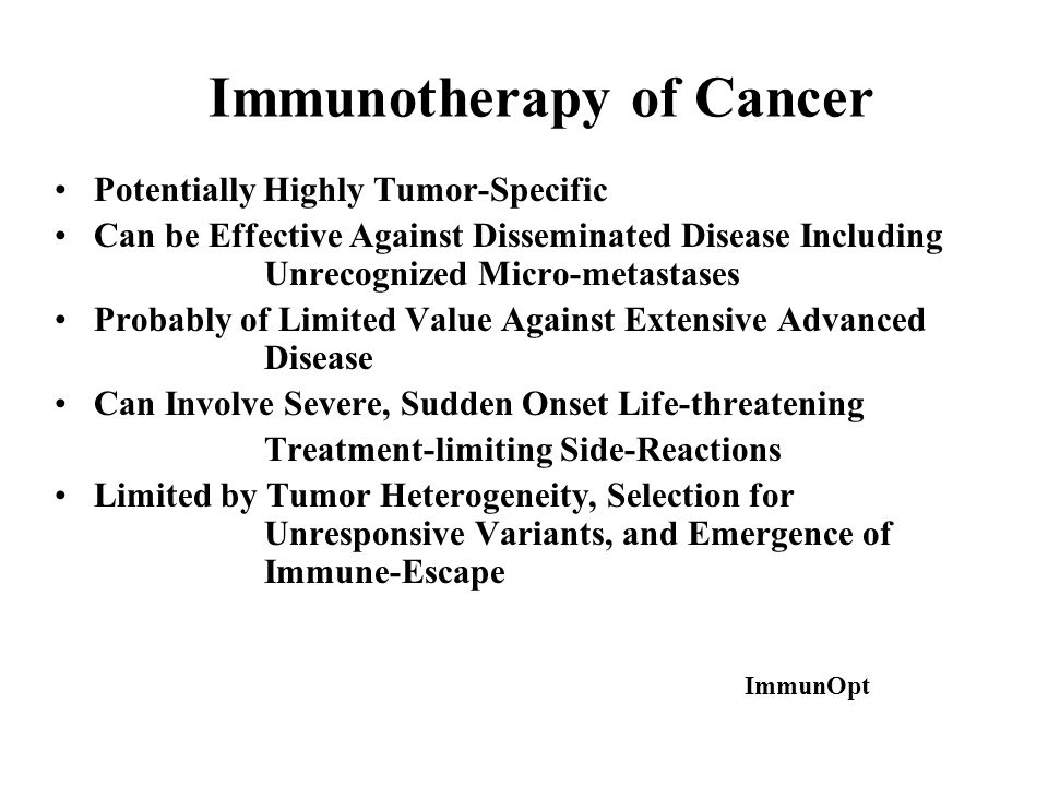 Immunotherapy of Cancer Potentially Highly Tumor-Specific Can be Effective Against Disseminated Disease Including Unrecognized Micro-metastases Probab
