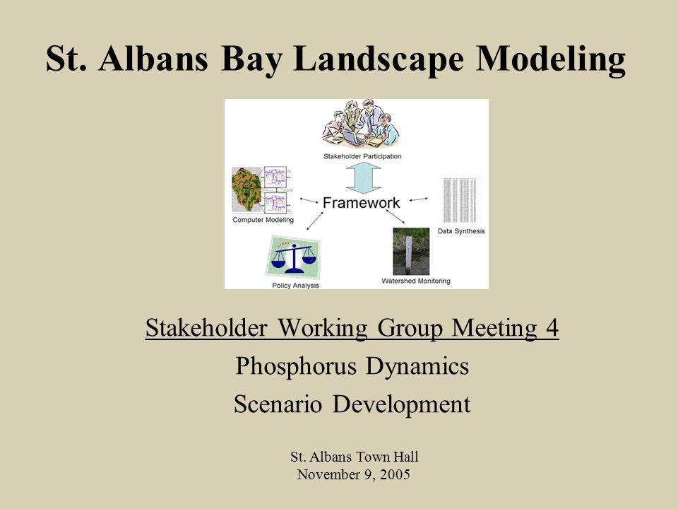 St. Albans Bay Landscape Modeling Stakeholder Working Group Meeting 4 Phosphorus Dynamics Scenario Development St. Albans Town Hall November 9, 2005
