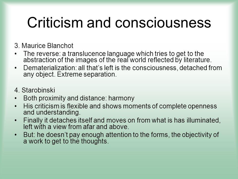 Criticism and consciousness 5.