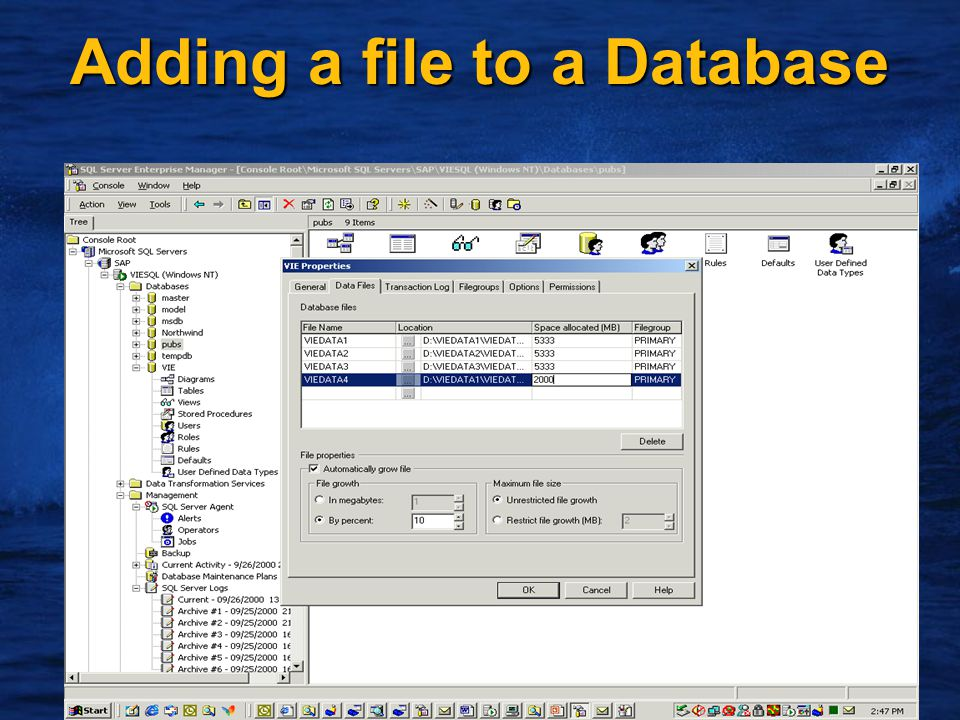 5 Adding a file to a Database
