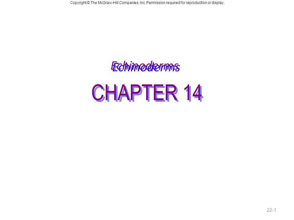 Copyright © The McGraw-Hill Companies, Inc. Permission required for reproduction or display. CHAPTER 14 Echinoderms 22-1