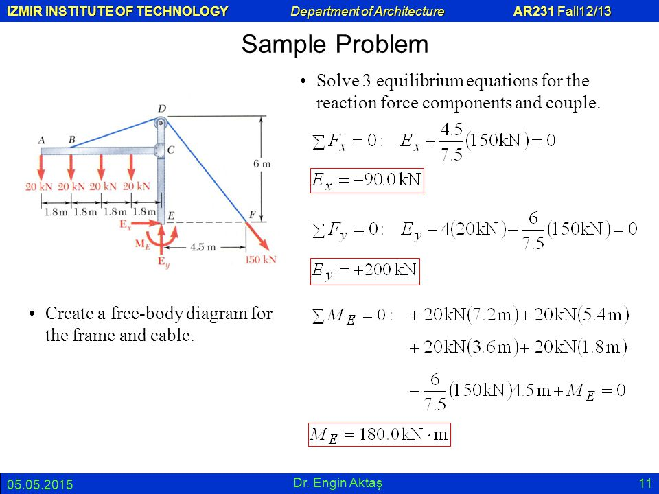IZMIR INSTITUTE OF TECHNOLOGY Department of Architecture AR231 Fall12/13 05.05.2015 Dr. Engin Aktaş 11 Sample Problem Create a free-body diagram for t