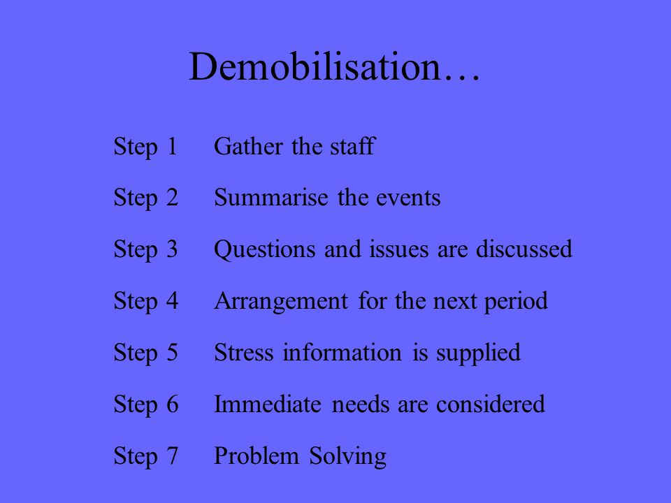 Demobilisation… Step 1Gather the staff Step 2Summarise the events Step 3Questions and issues are discussed Step 4Arrangement for the next period Step