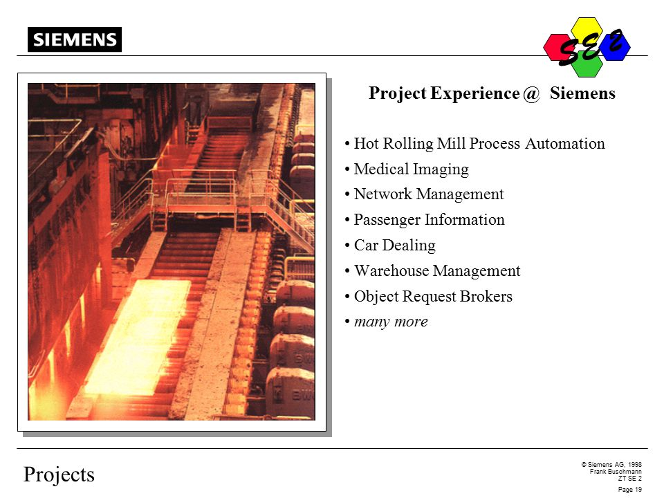 S © Siemens AG, 1998 Frank Buschmann ZT SE 2 Page 19 S E 2 Projects Project Experience @ Siemens Hot Rolling Mill Process Automation Medical Imaging Network Management Passenger Information Car Dealing Warehouse Management Object Request Brokers many more