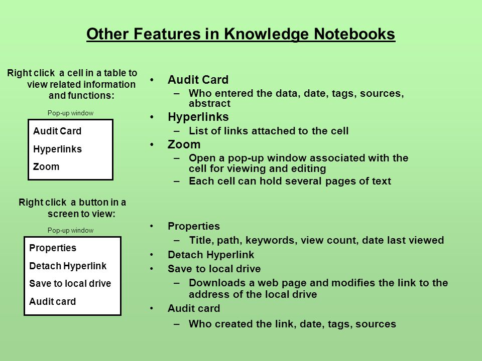 Other Features in Knowledge Notebooks Audit Card –Who entered the data, date, tags, sources, abstract Hyperlinks –List of links attached to the cell Z