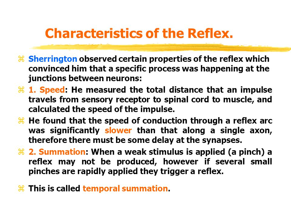 Characteristics of the Reflex. zSherrington observed certain properties of the reflex which convinced him that a specific process was happening at the