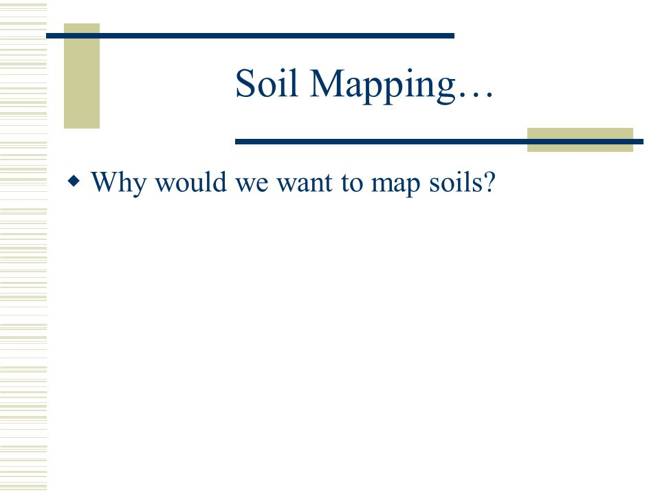 Soil Mapping…  Why would we want to map soils.
