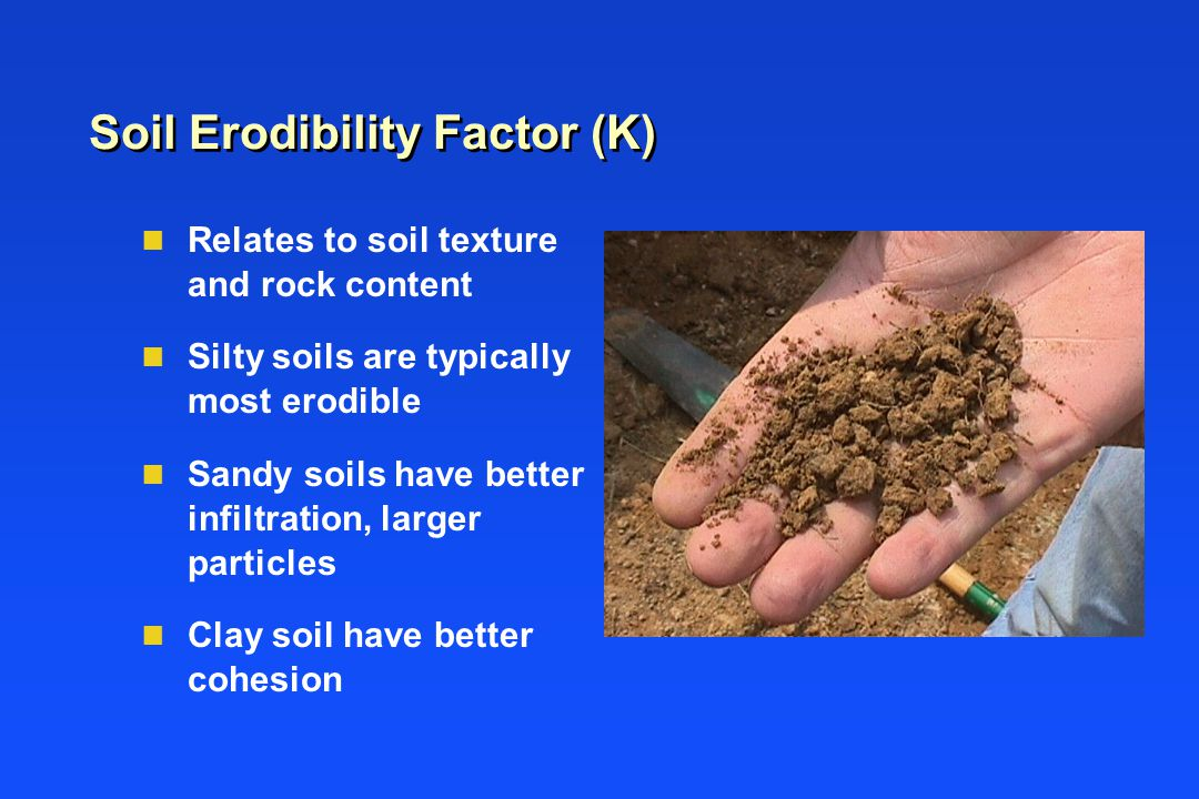Soil Erodibility Factor (K) n Relates to soil texture and rock content n Silty soils are typically most erodible n Sandy soils have better infiltration, larger particles n Clay soil have better cohesion