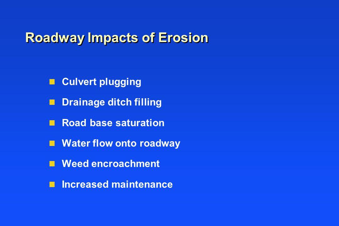 Roadway Impacts of Erosion n Culvert plugging n Drainage ditch filling n Road base saturation n Water flow onto roadway n Weed encroachment n Increased maintenance