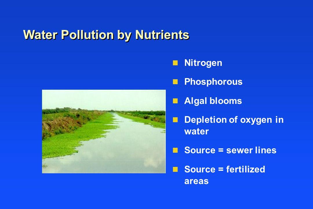 Water Pollution by Nutrients n Nitrogen n Phosphorous n Algal blooms n Depletion of oxygen in water n Source = sewer lines n Source = fertilized areas
