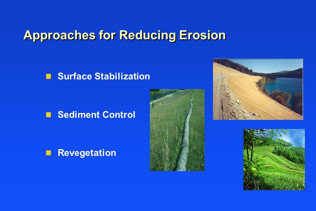 Approaches for Reducing Erosion n Surface Stabilization n Sediment Control n Revegetation