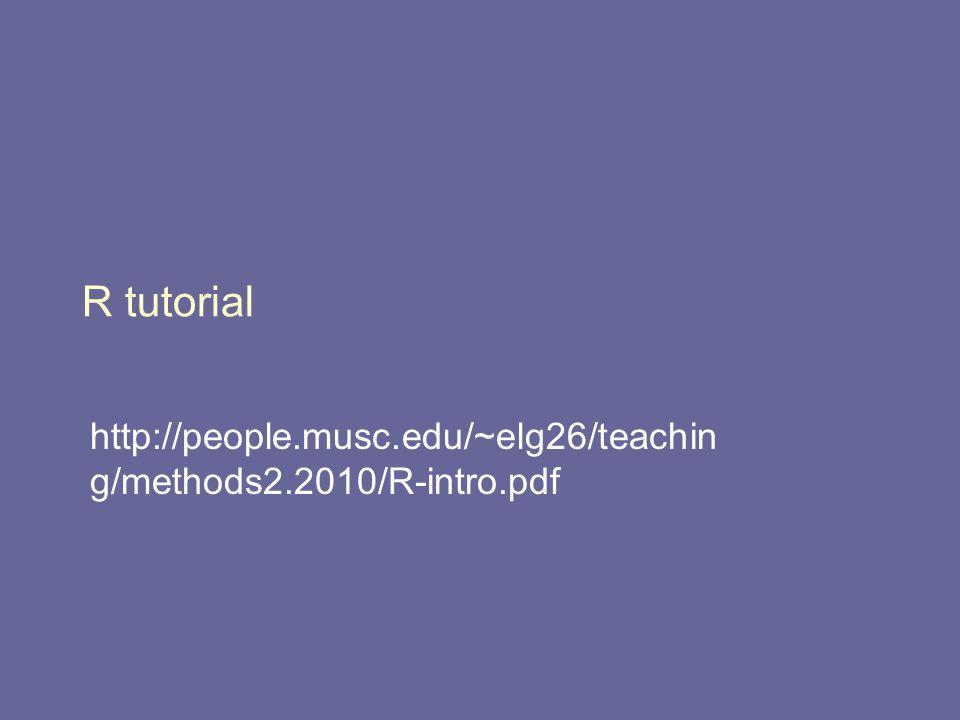 R tutorial http://people.musc.edu/~elg26/teachin g/methods2.2010/R-intro.pdf